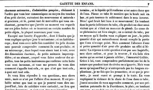 Gazette des Enfans erste Zauberkasten Erwähnung